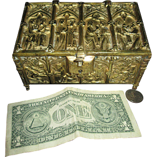 Magnificent Gothic Bronze Chest for You or Your Doll!