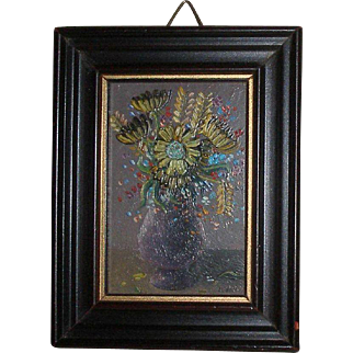 Miniature Oil on Copper French Floral Painting for Your Doll Scene or Doll House