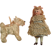 Tiny All-Bisque Doll & Her Canine Companion!