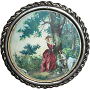 Miniature Fragonard Style Painting on Mother of Pearl for Your Doll Scene!