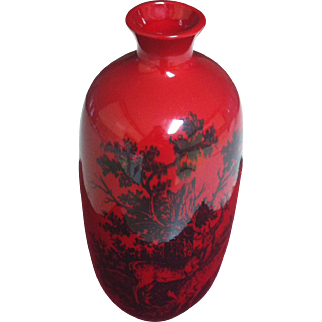 ROYAL DOULTON ROUGE FLAMBE WOODCUT STAG VASE