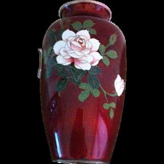 "7"" Pigeon Blood Red Japanese Cloisonne  Vase"