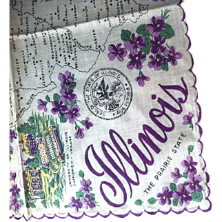 Illinois State Hanky  Decorated with Beautiful Violets
