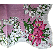 Colorful Floral Hanky with Orchids and Lilies