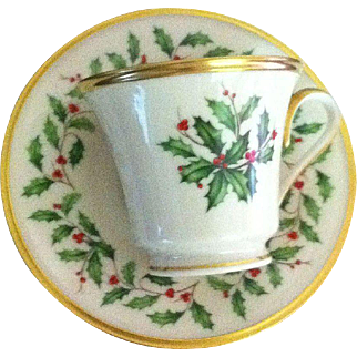 Lenox Cup/Saucer in the Holiday Pattern