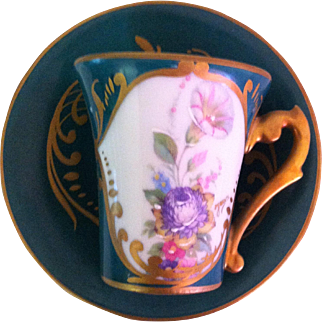 Limoges Floral Cabinet Cup and Saucer