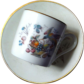 LIMOGES, FRANCE DEMITASSE  WITH BIRD OF PARADISE DECORATION