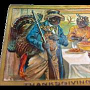 Black Americana Postcard of Family Celebrating Thanksgiving