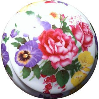 French china round powder box with floral design