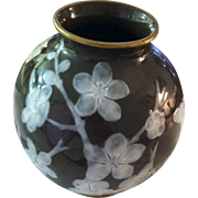 Pate Sur Pate Vase  with Flowers and Stems Surrounding the Vase