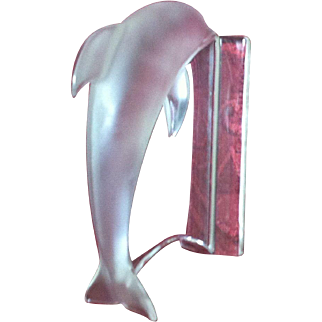 Signed Lalique Crystal Dolphin fFigure on Plinth
