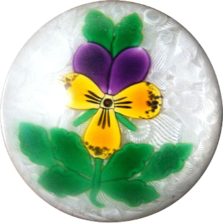 Ltd. Ed. Perthshire Paperweight  with Lampwork Pansy and Stem - Signed