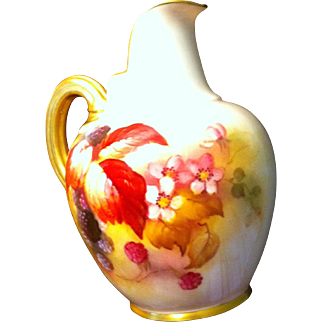 Royal Worcester Handpainted Pitcher with Fruits and Flowers.  Artist signed