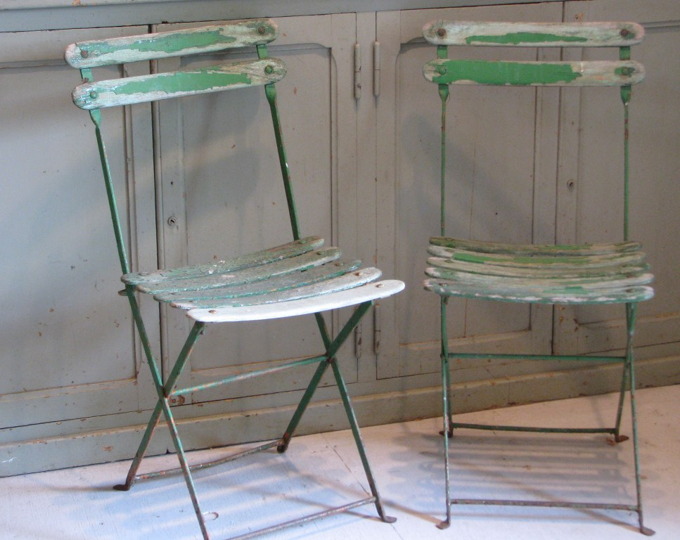 Pair of vintage french wooden slat folding garden chairs sold on ruby lane French metal garden furniture