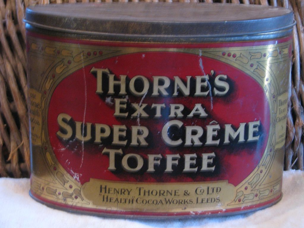 Vintage English Thorne's Creme Toffee Lithographed Advertising Tin