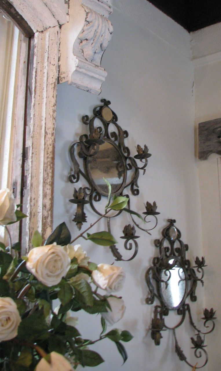 Vintage French Scrolled Silver Leaf Mirrored Sconces