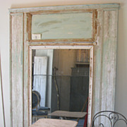 Large French Antique Trumeau Mirror in Boiserie