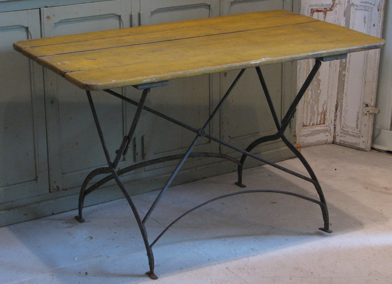 French Antique Metal Amp Wood Bistro Garden Table From