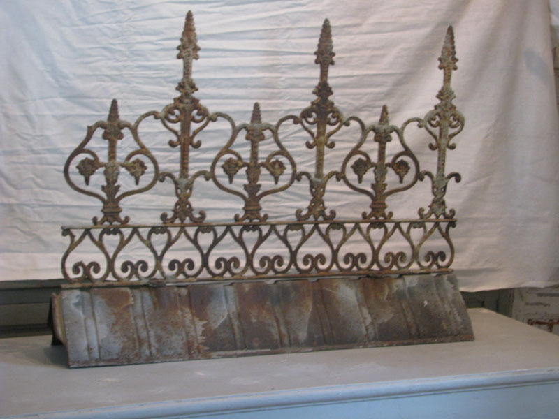 Antique French Ornamental Iron Ridge Cresting From