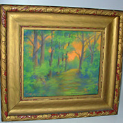 Impressionist Pastel Drawing of Trees Signed Banscoft 1937