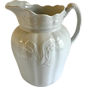 Antique White Ironstone Large Water Pitcher Wheat & Flower Alfred Meakin England
