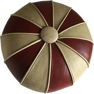 Vintage Mid Century Red & White Small Hasak Footstool