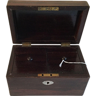 Antique Rosewood Tea Caddy with Mother of Pearl Insets