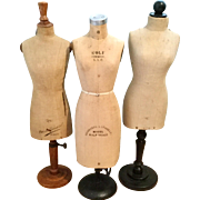 Collection of 3 Salesman Sample Dress Forms French & American