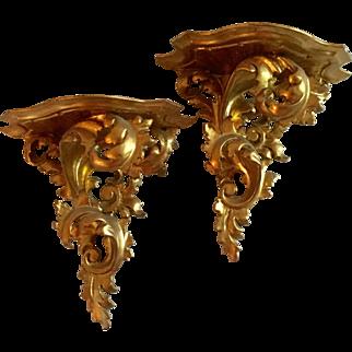 Pair Vintage Carved Gilt Wood Italian French Baroque Shelf Brackets Gold Leaf