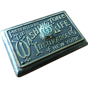 Old Advertising Washington Life Insurance Co New York  Desk Paperweight