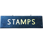 Old Two Sided Hand Painted STAMPS Sign