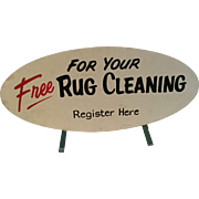 Mid Century Modern Two Sided Sign Register For Your Free Rug Cleaning