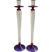 "Studio Paran Large Art Glass Candlesticks 16"" Tall Signed and Dated 98"
