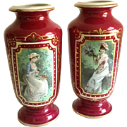 Large Pair Victorian Hand Painted & Transfer Porcelain Vases