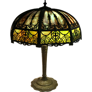 Large Signed Miller Bent Panel Slag Glass Table Lamp