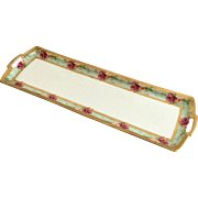 M & Z Austria Moritz Zdekauer Hand Painted Dresser Tray Roses with Gold Trim 19""
