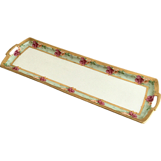 """M & Z Austria Moritz Zdekauer Hand Painted Dresser Tray Roses with Gold Trim 19"""""""