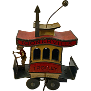 Antique Toonerville Trolley Tin Litho Mechanized Clock Work Wind Up Toy c.1922