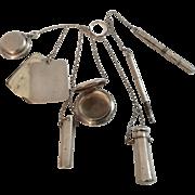 Antique Rare Sterling Chatelaine Marked Blackinten 7 Pieces Plus Chain