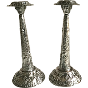 "Antique Repousse Silver Plate Dutch Scenes Candle Sticks Holders Large 12 1/2"" Tall"
