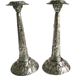 """Antique Repousse Silver Plate Dutch Scenes Candle Sticks Holders Large 12 1/2"""" Tall"""