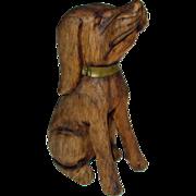 FolK Art Carved Wood Dod Sitting