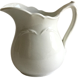 Antique White Ironstone Chester Hotel China Pitcher