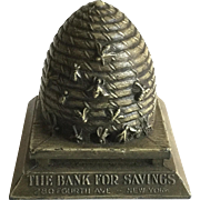 Antique Still Bank Bee Covered Hive Savings Bank
