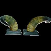 Vintage Steer Horn Bookends Pr