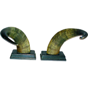 Vintage Steer Horn Bookends Pr