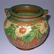 Roseville Dahlrose Small Jardiniere Vase 2 Handle 4 1/4""