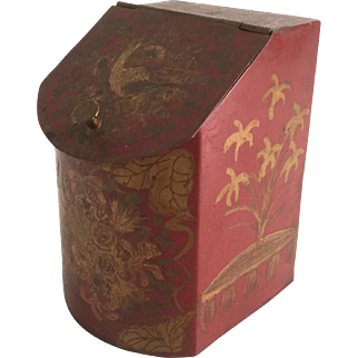 Antique Red and Gold Toleware Spice Box Tin