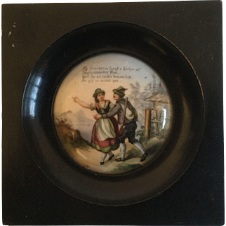 Antique English Prattware Pot Lid Framed