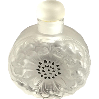 "Lalique Dahlia Perfume Bottle 3 1/2"" Signed"